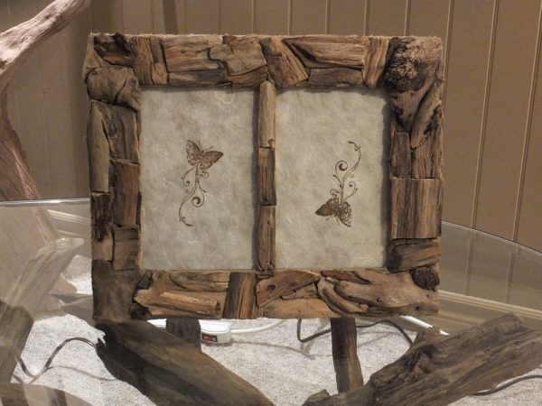Hand crafted double picture Frame 4 x 6 made with driftwood in Ottawa Ontario